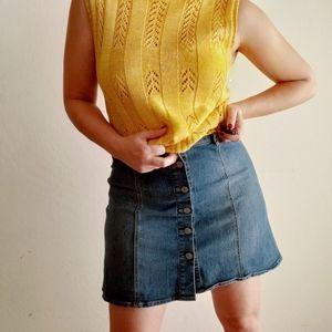 Love Fire Denim Button Down A-Line Skirt